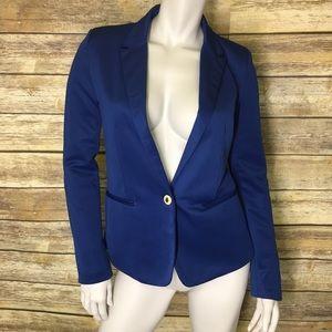 Zara One Button Closure Blue Blazer
